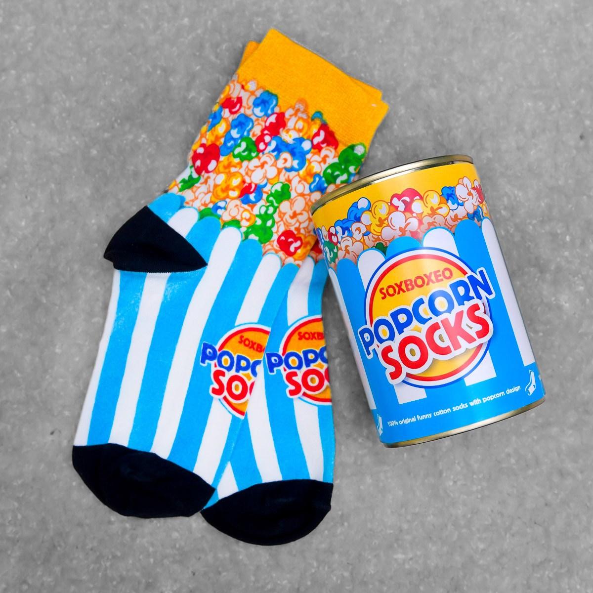 Modrobílá plechovka s ponožkami Popcorn Socks