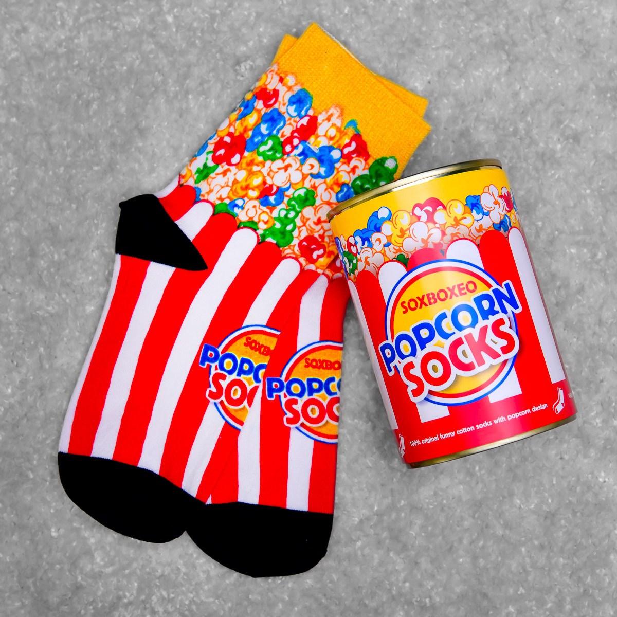 Červenobílá plechovka s ponožkami Popcorn Socks
