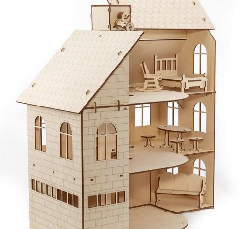 Dřevěný skládací domek pro panenky