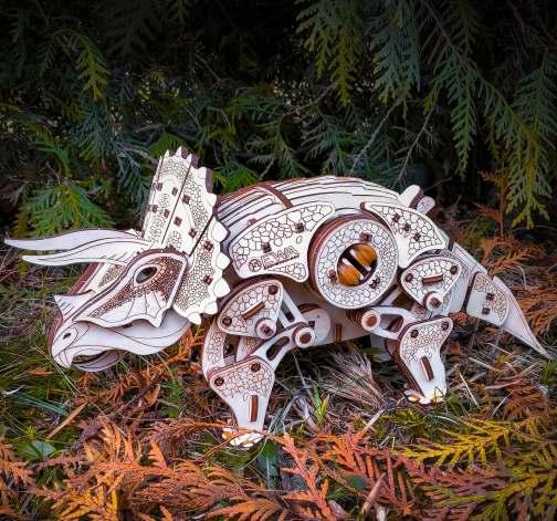 Dřevěný skládací 3D model - Triceratops
