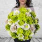 Dřevěná vonící kytice zelená – 33 květin