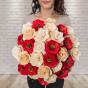 Dřevěná vonící kytice přírodní – 33 květin