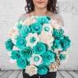 Dřevěná vonící kytice modrá – 33 květin