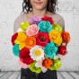 Dřevěná vonící kytice mix barev - 21 květin