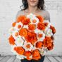 Dřevěná vonící kytice oranžová – 33 květin