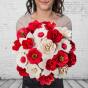 Dřevěná vonící kytice červená – 21 květin