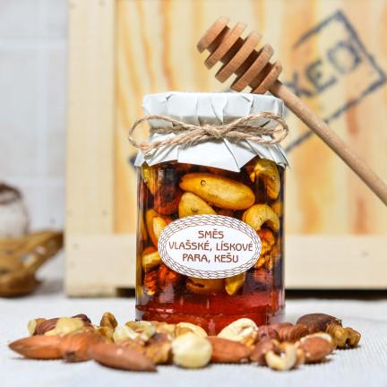 Medová pochoutka se směsí ořechů 220g