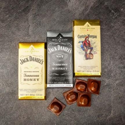 Set tří luxusních čokolád s alkoholem