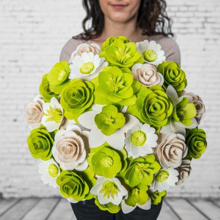 Dřevěná vonící kytice zelená