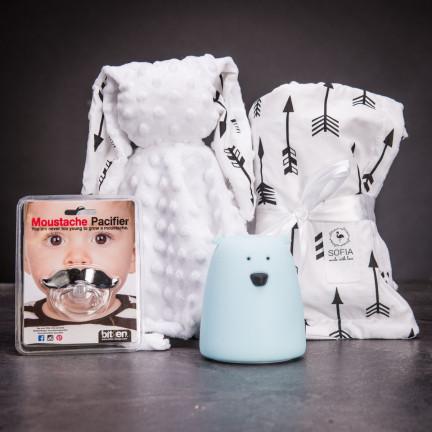 Set praktických doplňků pro miminka – bílá s černými šípy