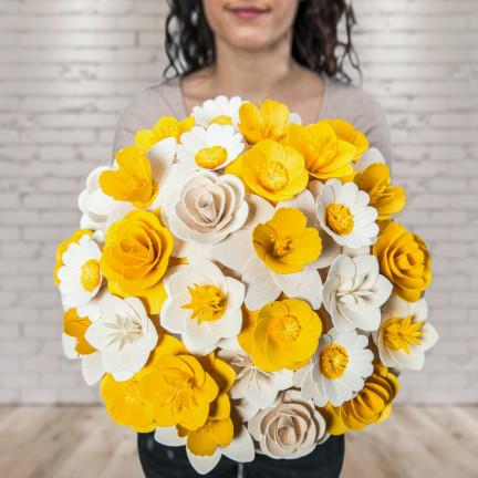 Dřevěná vonící kytice žlutá