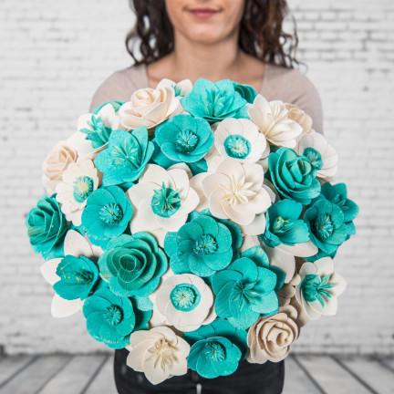 Dřevěná vonící kytice modrá