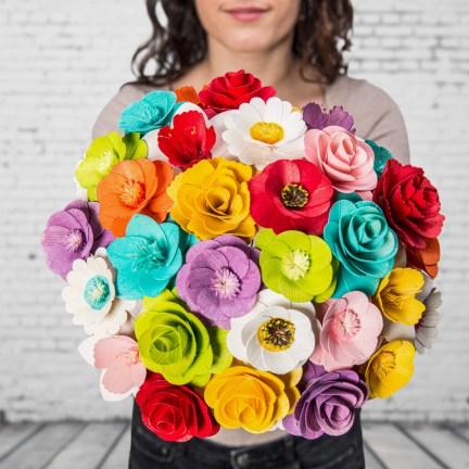 Dřevěná vonící kytice mix barev