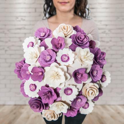 Dřevěná vonící kytice fialová