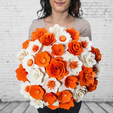 Dřevěná vonící kytice oranžová