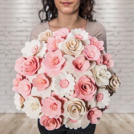 Dřevěná vonící kytice růžová